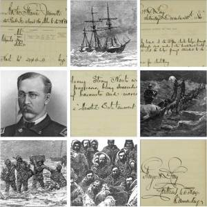 Images from and about the Jeanette, including in the bottom left an artist's impression of the chest of logbooks being saved.