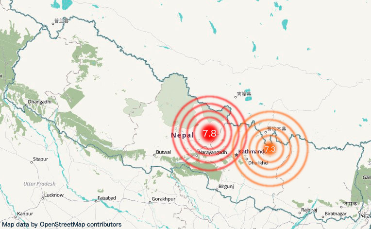 Nepal map showing locations of earth quakes northeast and northwest of Kathmandu