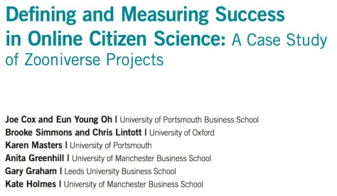 Defining and Measuring Success in Online Citizen Science: A Case Study of Zooniverse Projects